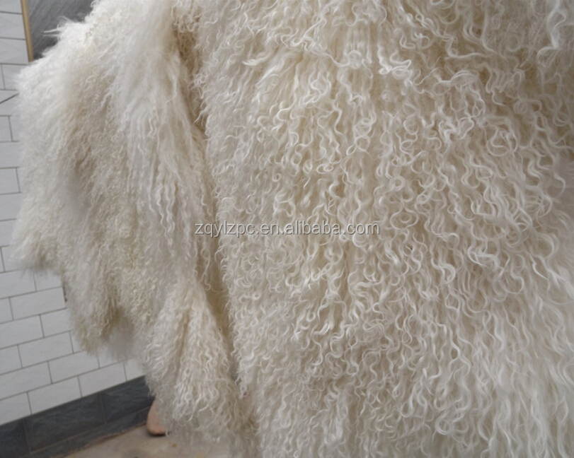 Tibet Lamb Curly Fur Wool Plate / Natural Curly Lamb Fur Skin Plate