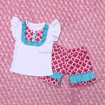 Kids Popular Design Outfits Sleeveless Top with Bib Ruffle Super Soft Cotton Shorts Outfits Suitble for Childrens