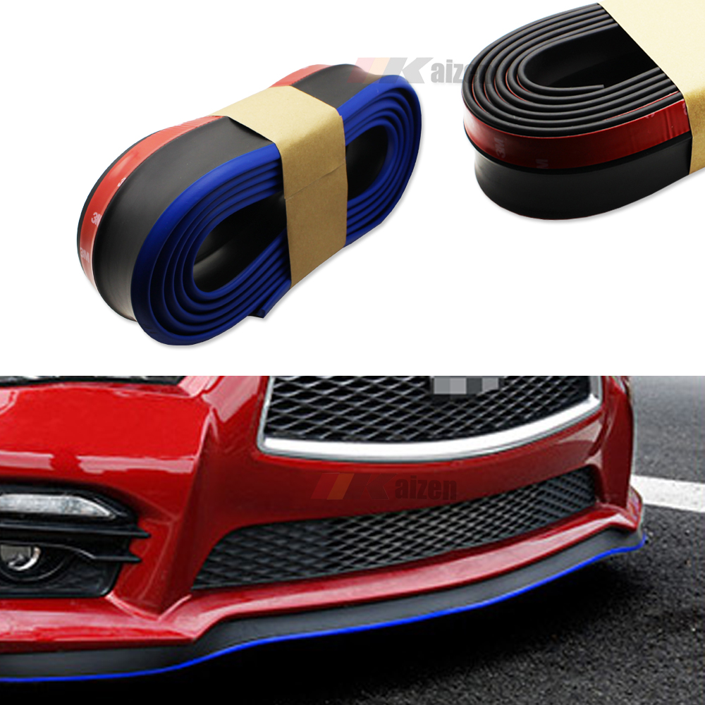 Black w/ Blue Universal Car Bumper Lip Splitter Chin Spoiler Rubber Skirt Protector (8ft)