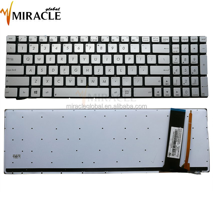 Replacement laptop us keyboard for asus n56 backlit notebook keyboard us layout silver