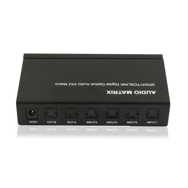 High Quality SPDIF/TOSLINK Digital Optical Audio Matrix 4X2 Small Audio Mixer APET0402T
