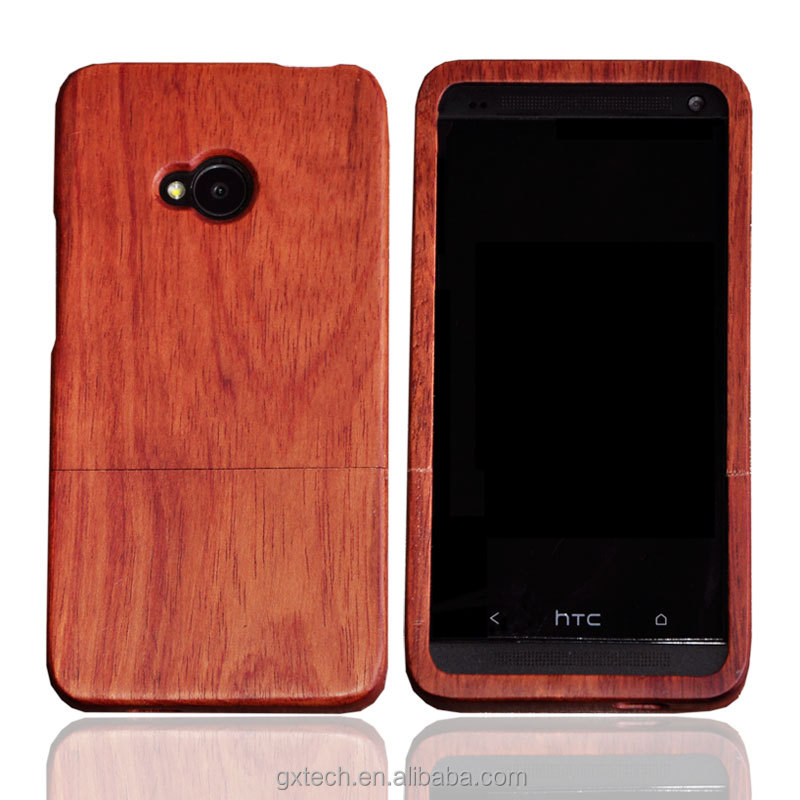 Free Simple Mobile Phone Case / Shell for HTC m7 ,Mobile Phone Accessories , Walnut + Rose Case