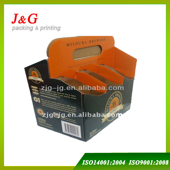 OEM custom printing cardboard wine/beer bottle carrier wholesale