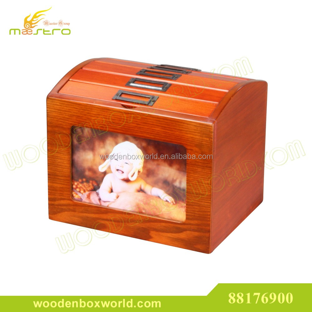 Elegant Cherry Wood Family Photo Album Wooden Box with Frame