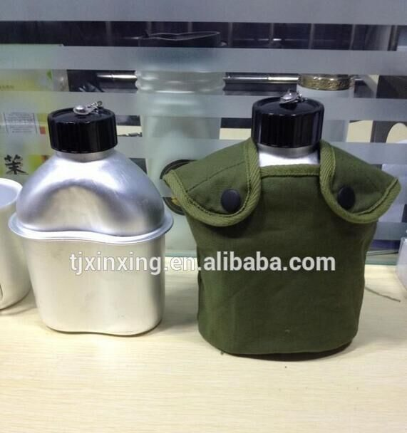 army canteen portable aluminum steel water bottle