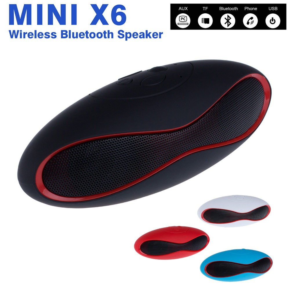 Mini X6 Bluetooth Speaker Wireless Stereo Portable Handsfree Subwoofer Mp3 Player Loudspeaker For Mobile Phone PC Laptop Tablet