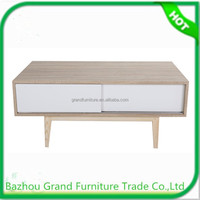 French design wood furniture coffee table with 2 drawers for MDF furniture