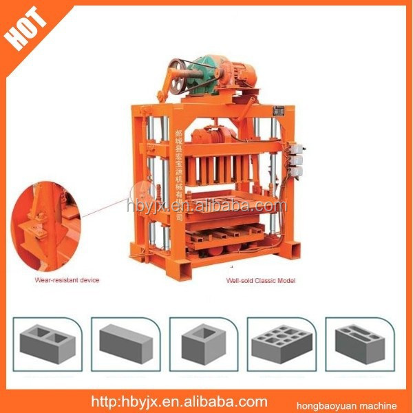 house plans QTJ4-40 vibrating concrete block machine making,hollow cement block machine for sale