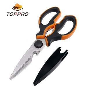 TOPPRO Stainless steel wholesale scissors multi function clever kitchen scissors shears with Comfortable handle