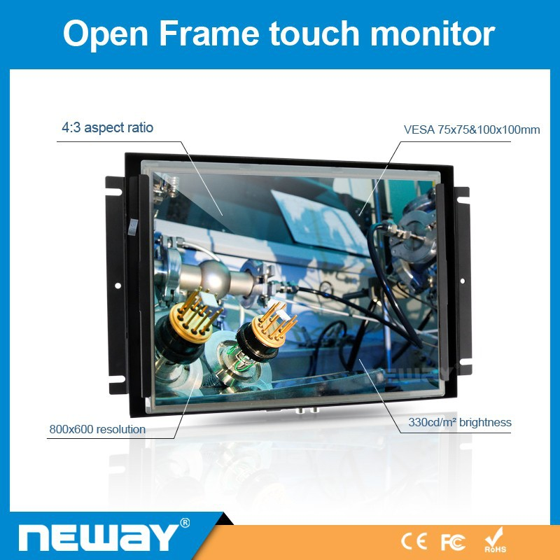 "High Brightness 330cd/m2 non- touchscreen 12.1"" lcd display advertising open frame baby monitor"