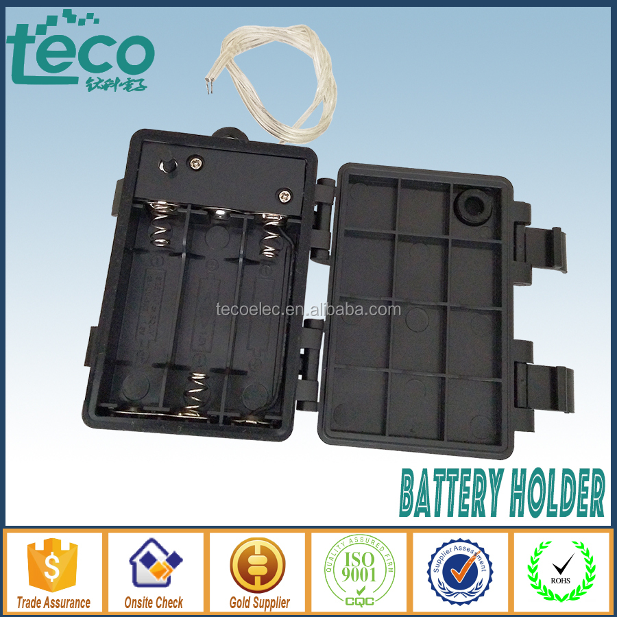 TBH-2A-3T Ningbo TECO 4.5V 3 x AA Batteries Waterproof Battery Holder Case Container w On/Off Switch