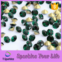 Emerald Point Back diamond bling rhinestone 144pcs, Gold Foil Back Crystal