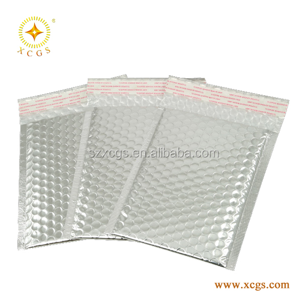 China Stock Cheap Silver Metallic Foil Bubble Mailer Envelope with various sizes