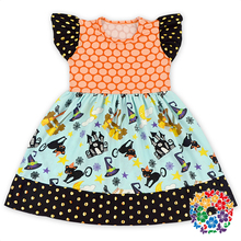 2016 Boutique Girls Cotton Frock Designs Baby Children Halloween Pattern Dress Stylish Modern Girls Dresses