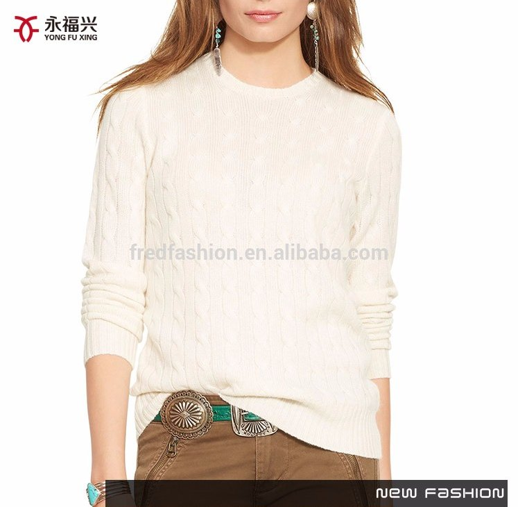 Crew neck pullover plain sweater design/lady sweater/latest design ladies sweater