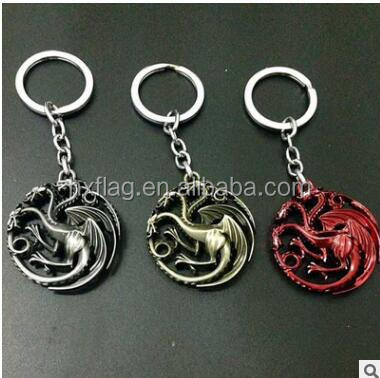 Game of Thrones Targaryen Dynasty Badge 3D Keyring Keychain Silver Color