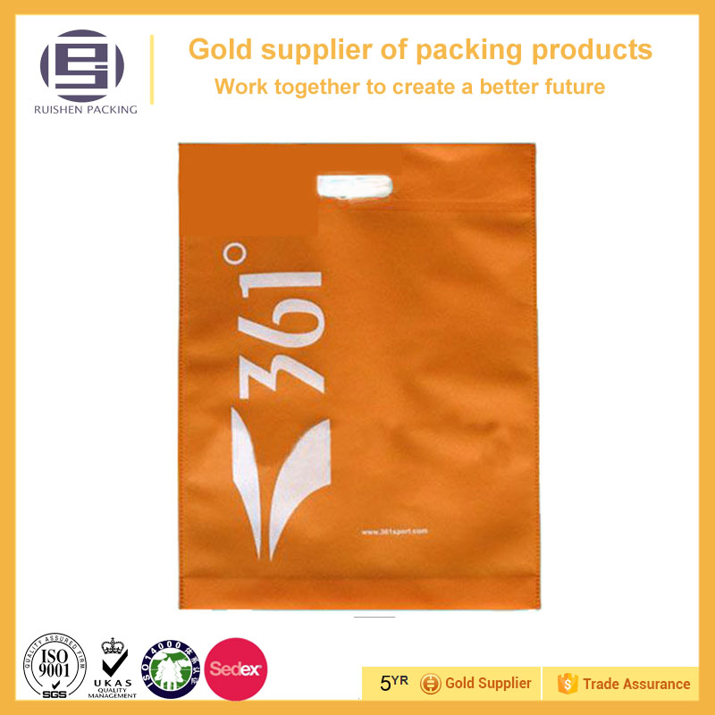 Orange logo die cut Non-woven bag for shopping