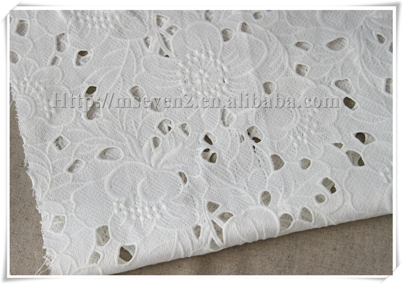 Latest design optical white water soluble embroidery wedding lace fabric