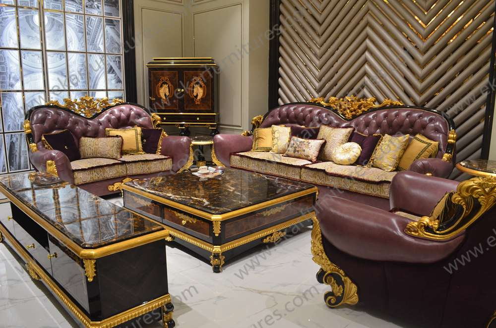 Antique Gold Dubai Living Room Leather Sofa Sala Set Soft Sofa Buy