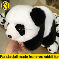 wholesale Panda doll made from real rex rabbit fur made in china Highly emulated panda children's gifts OEM