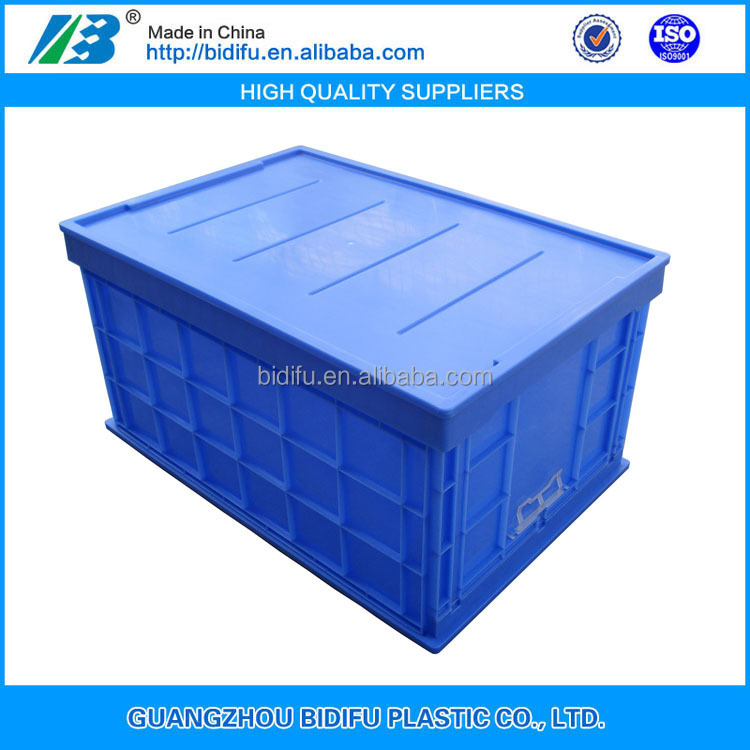 collapsible plastic moving crate foldable plastic logistic Tote with lid