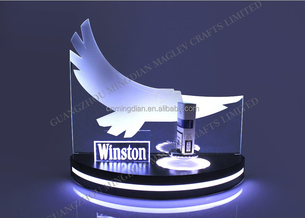 Unique Christmas Promotional Display for Cigarette Case Advertising! Magnetic Rotating LED Display Stand