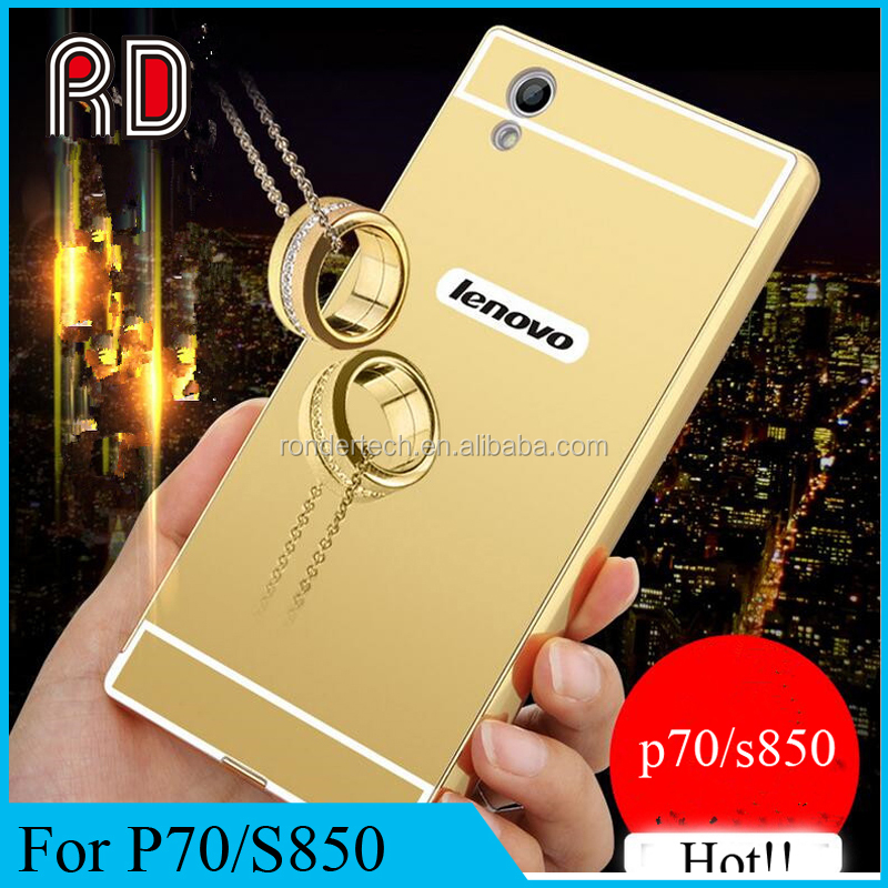 Luxury 24k gold electroplated Aluminum mirror back cover case for lenovo p70/s850