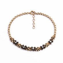 latest stylish girl's simple design diamond gold plating chain necklace