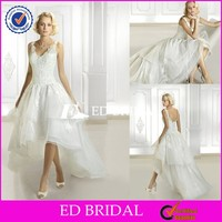 CE460 Sexy New Fashion V-Neck Backless Organza Short Front Long Back Wedding Dress
