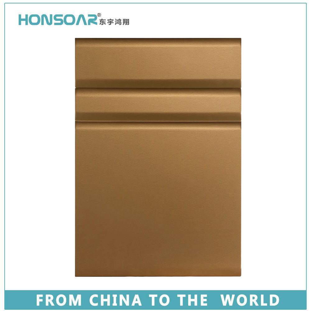 factory high glossy PVC MDF cabinet door champagne yellow