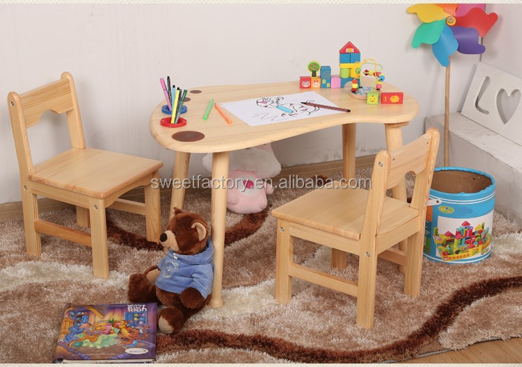 Kids solid wood drawing desk and chair set