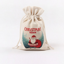 wholesale drawstring christmas pouch blank santa sack canvas