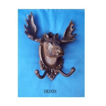 rustic CAST IRON Elk WALL HOOK towel rack coat hooks