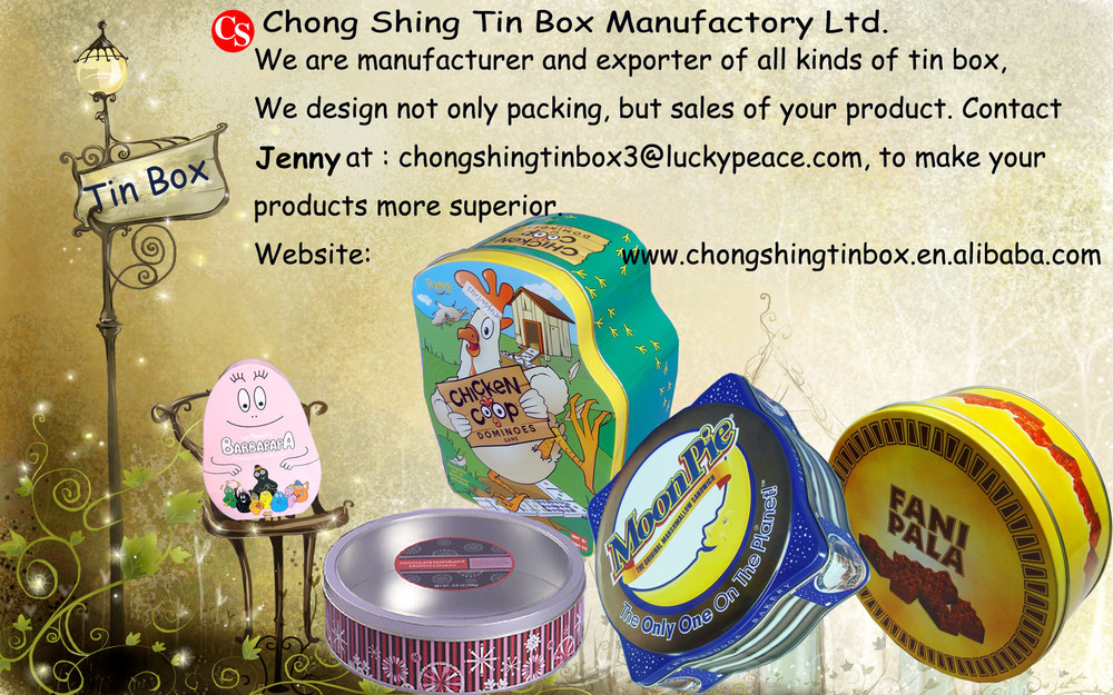 Gift packing tin box with handle