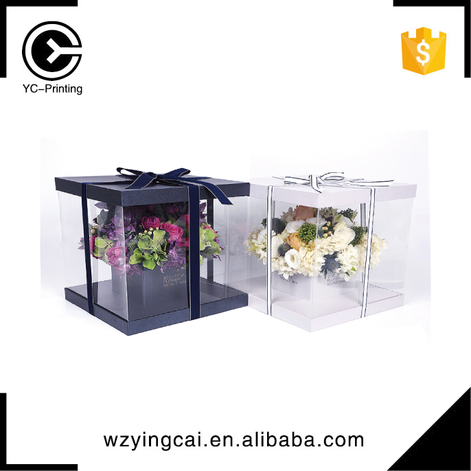 Elegant black and white hot sale transparent flora clear window rose flowers lid boxes