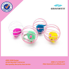 Pet toy manufacturer promotional metal ball cage cat toy with plush mouse inside scratch funny toy