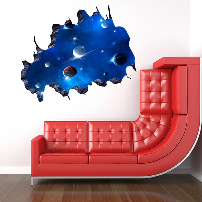 ALFOREVER broken window 3D Cosmic sky wall sticker for home decoration
