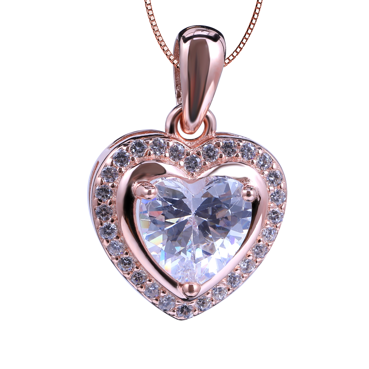 Hot Sales Fashionable Customized Sterling Rose Gold Heart Women's Fashion Jewelry