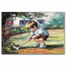 Handmade 3d relief canvas art children playing golf in garden oil painting