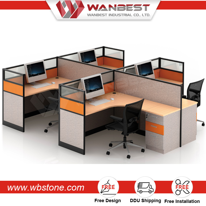 High End Office Call Center Workstation Desk Cubicle Laptop Table for 4 People with Partition Screen