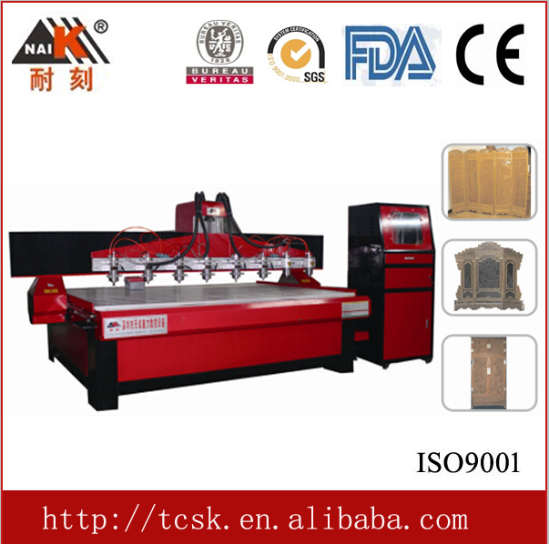 hot-selling multi Spindles 3 axis cnc wood carving machine 2412-8