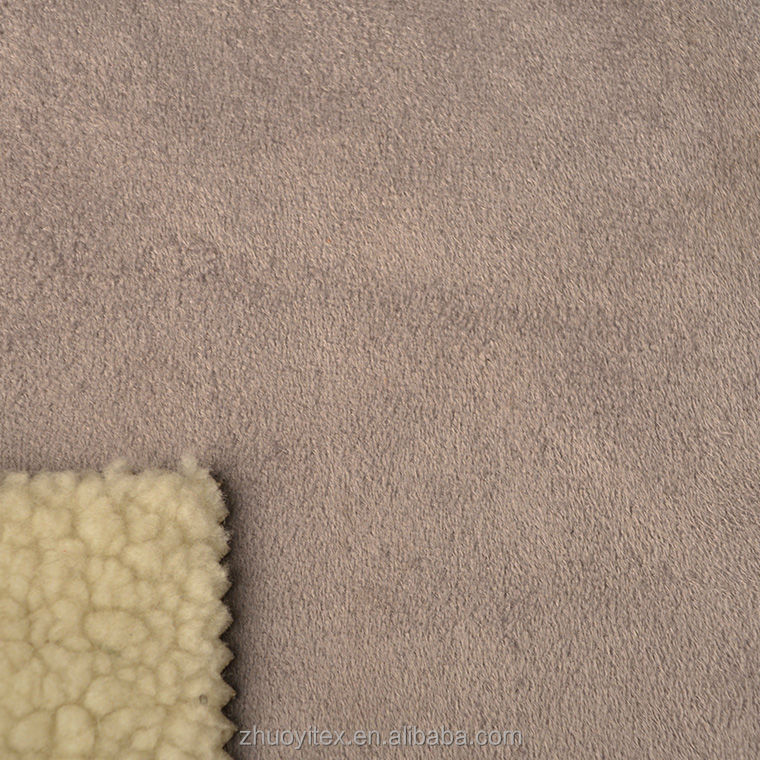 fleece suede fabric bond with sherpa for garment