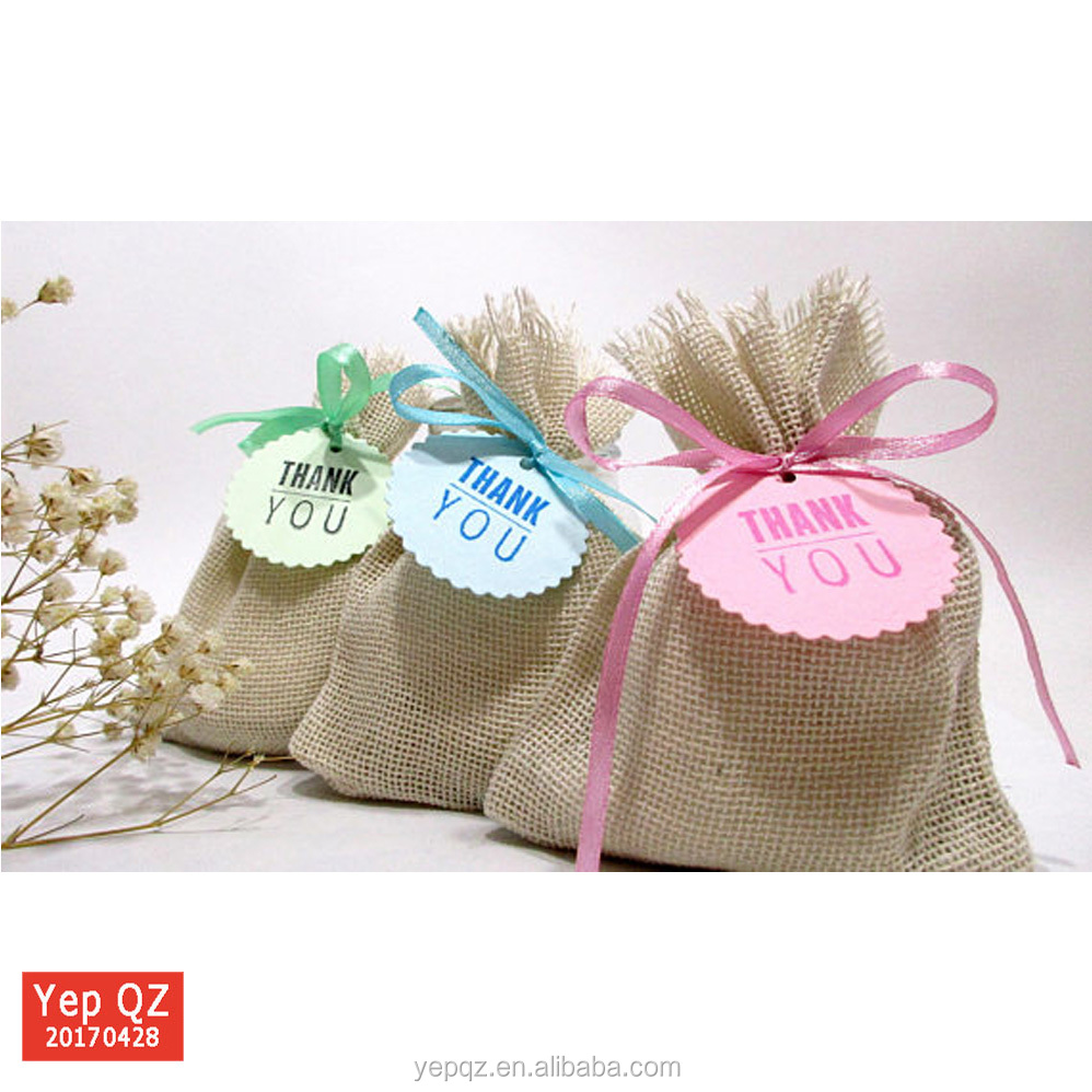 Best selling natural color high quality customized promotion small gift Hessian Hemp Jute Drawstring Bags