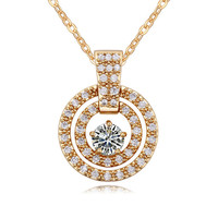 Top design fashion necklace 18K gold plated zircon gem necklace of necklace parts with showcase jewelry for love