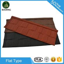 New design Flat roofing shingle, stone coated metal roof tile with high quality