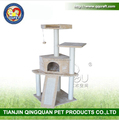 BSCI QQ Catree factory Beige Cat Tree Soild Condo Furniture Scratch Post Play House