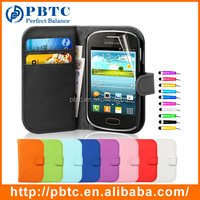 Set Screen Protector Stylus And Case For Samsung Galaxy Fame S6810 , Mobile Phone Wallet Leathter PU Cover