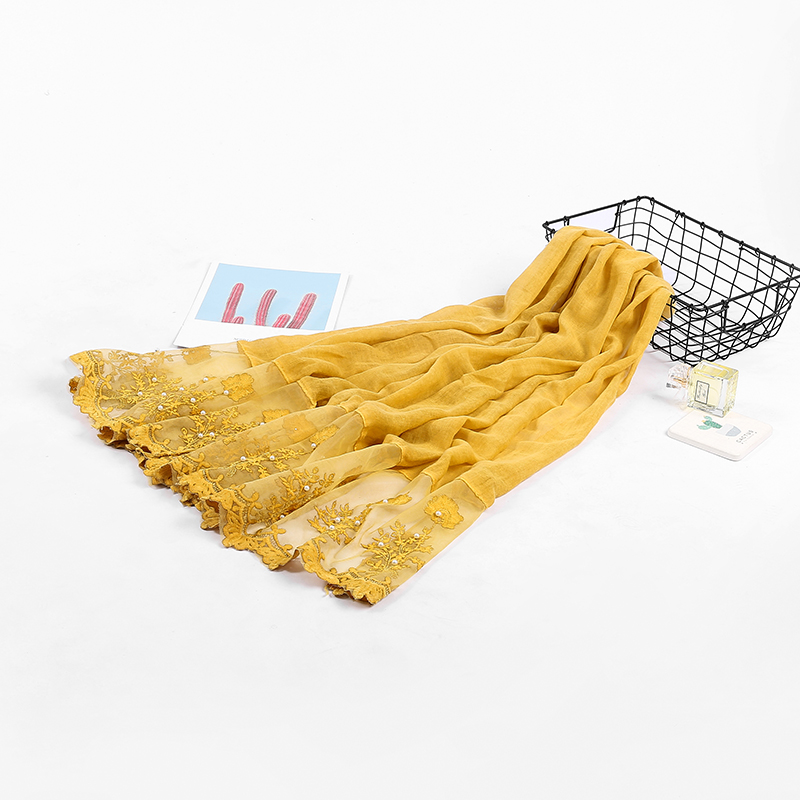2018 May latest pearl lace scarf women hijabs