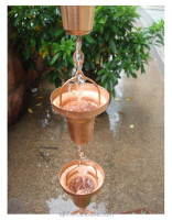 8feet Bell Hammered Copper Rain Chains
