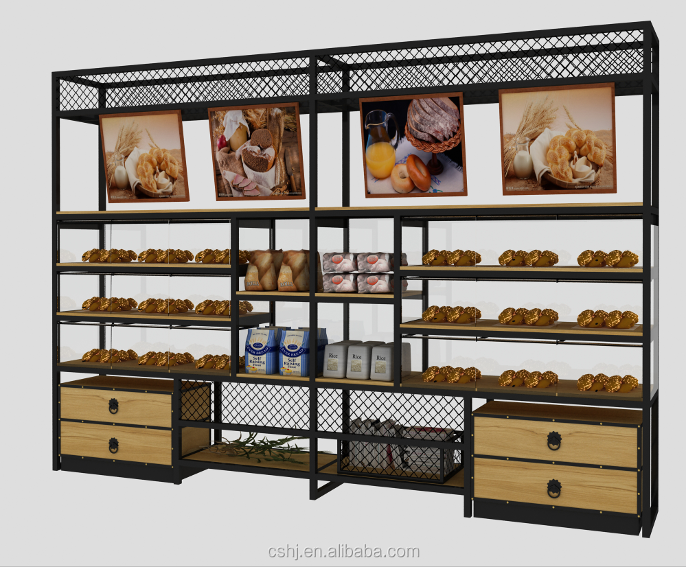 cafe shop wall along bread bakery display showcase/racks